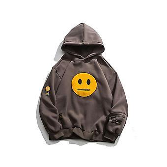 Rits Pocket Smile Face Patchwork Fleece Hoodies Sweatshirts Streetwear