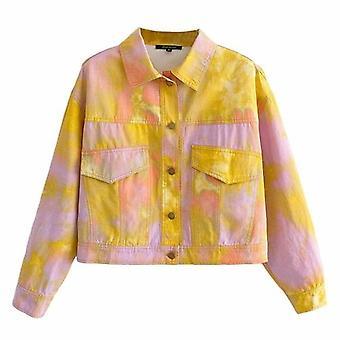 Tie Due Printed Long Sleeve Jacket Coat