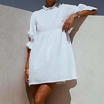 Summer Women Solid Casual Loose Min Straight Dress