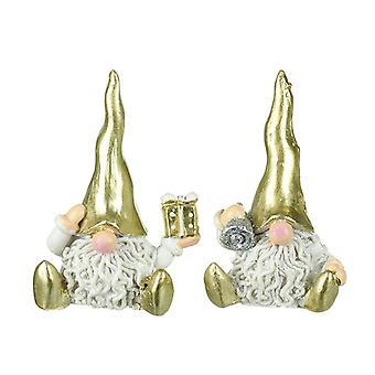 Gonks sentados em chapéus de ouro brilhantes (conjunto de 2)
