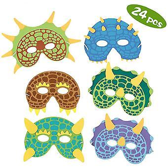 Dinosaur party masks,specool 24 pack dinosaur costume foam masks birthday party supplies masquerade