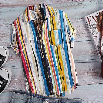 قميص الجيب، رجال الصيف قصيرة الأكمام الأعلى، قمصان مخططة، متعدد الألوان، فضفاضة