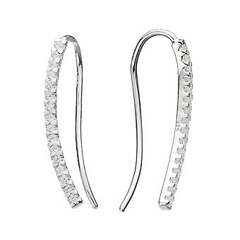 Dew Sterling Silver Cubic Zirconia Curved Bar Ear Climbers 5884CZ020