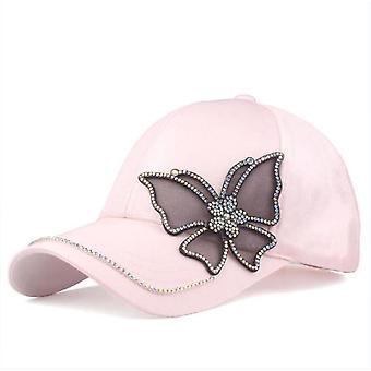 Butterfly Baseball Lippis / Snapback Hip Hop Sun Hat, Korkealaatuinen tekojalokivi