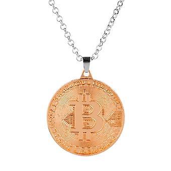 ファッションクールゴールドローズBtcビットコインシェイプメタルペンダントネックレス女性