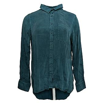 Side Stitch Women's Top One Pocket Shirt With Curved Hem Green A387036