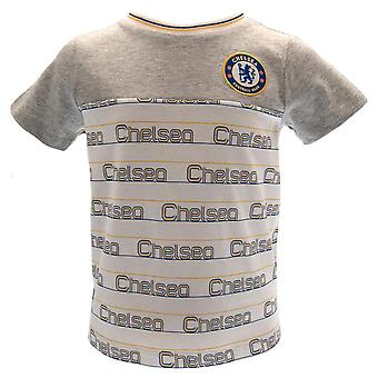 Chelsea FC Childrens/Kids Crest And Stripes T-Shirt