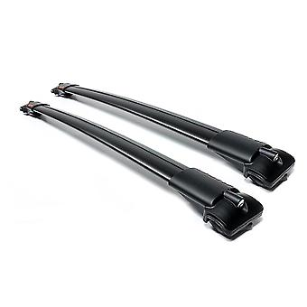 Aguri Prestige Black Aluminium Aerodynamische Dachträger-Geländerleisten (an erhöhten Dachrailings befestigen)