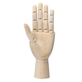 Tre venstre hånd Body Artist Modell Bevegelige Fingre Artikulert Tre Skulptur 8 tommer