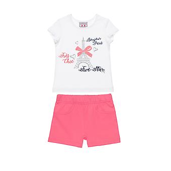 Alouette Girls' Blouse Set With Glitter Details And Shorts