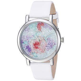 Timex Womens Crystal Bloom wit/zilver bloemen lederen riem horloge TW2R66500