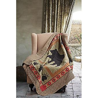 Spura Home Bear and Paw Patchwork Quilted Contemporary Throw