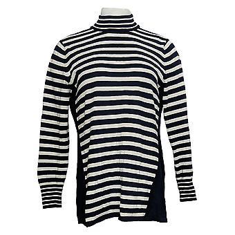 Susan Graver Women's Sweater Striped Sweater W/Button Detail Black A372460