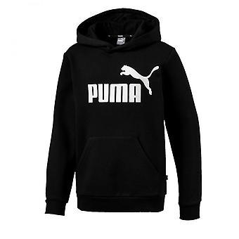 Puma Essential Logo Kids Over Head Fleece Hoodie Hoody Jacket Black