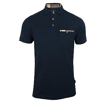 Barbour mens navy corpatch polo shirt