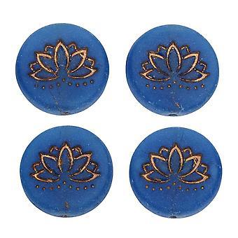 Czech Glass Beads, Lotus Flower 18mm, Lapis Blue Opaline Matte, Dk Bronze, 4 Pc, by Raven's Journey