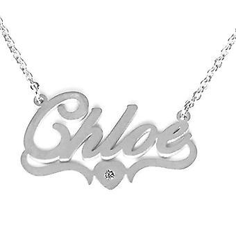Kigu Chloe Halsband med anpassat hjärtformnamn, justerbar kedja, silverförpackning