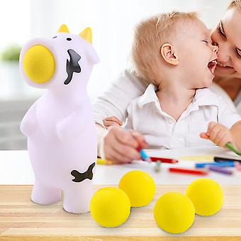 Cow  Ball Blaster-animal Popper Indoor And Outdoor Toys With 5 Foam Balls