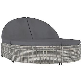 vidaXL Tumbona para 2 personas con almohadillas Poly Rattan Grey