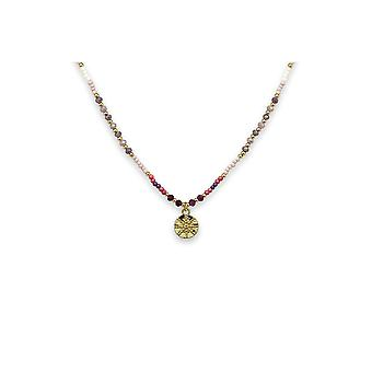 Boho betty mazu pink beaded necklace with starburst pendant