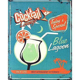 vintage metall tegn blå lagune cocktail salong