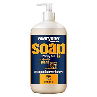 EO Products Everyone Soap For Men, Cedar and Citrus 32 OZ