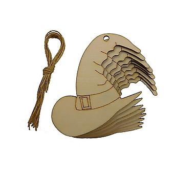 10pcs Wooden Crafts Halloween Party Hanging Woodwork Witch Hat Wood Chips