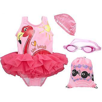 Zomer strand meisjes ¡ ̄ badpak bevatten badmuts en zwembril voor 1-8 jaar (90-100cm)
