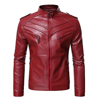 Men's Stand Collar Casual Zipper Faux Leather Jacket