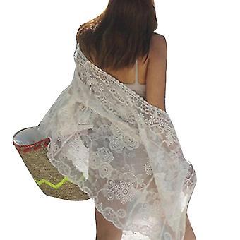 Long Bikini Cover Up Lace Suncreen Kaftan Beachwear Cardigan