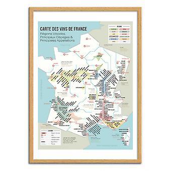 Art-Poster - Carte des vins de France - Frog Posters