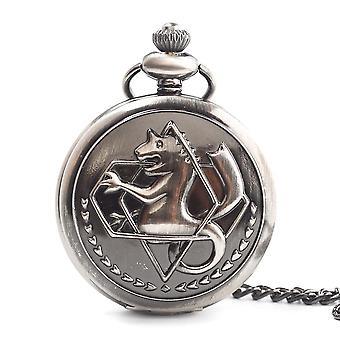 Fullmetal Alchemist Pocket Watch With Chain Box Cosplay Necklace Pandant Anime Merch(White Bronze)