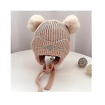 Maluch dzieci niemowlę zimowy kapelusz, nausznik Knit Warm Cap Fleece Lined Beanie dla chłopców dziewczynki (PINK)