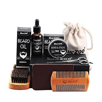 Huile de barbe pour hommes Kit Huile de pain Baume Barbe mise en forme Moustache croissante Hydratante