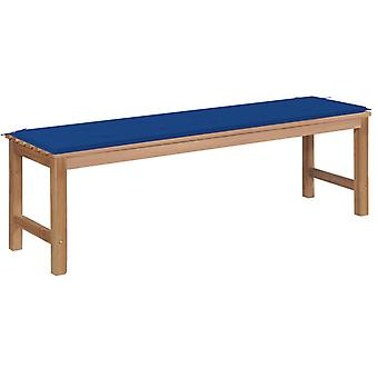 vidaXL garden bench with royal blue pad 150 cm solid wood teak