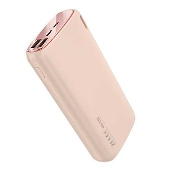 Kuulaa Powerbank 20.000mAh - 2.1A with 2 USB Ports - External Emergency Battery Charger Charger Pink