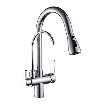 Mimigo Modern Hot And Cold Faucet Drop Down Double Water Pipe 2 Water Outlet Modes