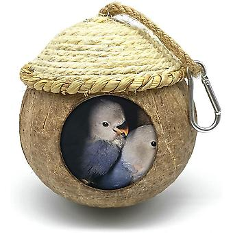 Bird House With Coconut Woven Straw, Natural Coconut Bird Cage With Woven Cover
