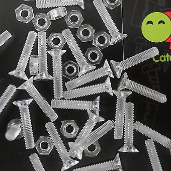 50 x Clear Crosshead Countersunk Screw Nuts, washers, bolts, M4 x 20mm