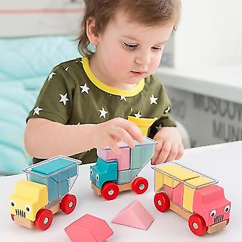 Assembling Wood Magnetic Truck Toy Preschool Puzzle Game