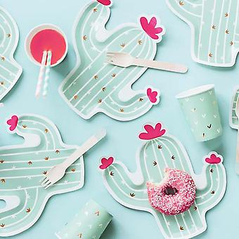 Cactus Shaped Paper Plates | Tropical Party Childrens BBQ Summer Party x6