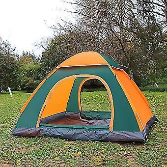 3-4 الناس 3 في 1 في الهواء الطلق التلقائي خيمة التخييم Rainproof خيمة الباب المزدوج (البرتقالي)