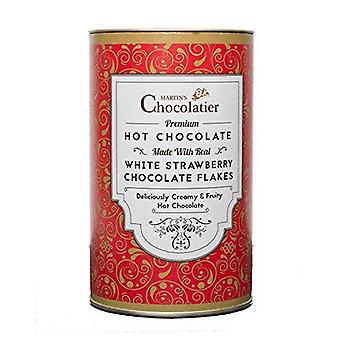 Martin's Chocolatier Hot Chocolate Drinking Chocolate Made from Real Belgian Chocolate Flakes - 300g Tin (Strawberry)