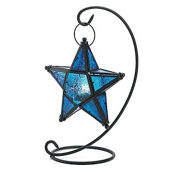 Gallery of Light Blue Glass Hanging Star Candle Lantern, Pack of 1