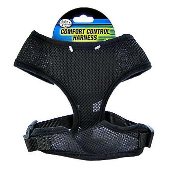 """Four Paws Comfort Control Harness - Black - Large - For Dogs 11-18 lbs (19""""-23"""" Chest & 13""""-15"""" Neck)"""