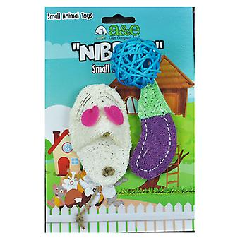 AE Cage Company Nibbles Eggplant and Assorted Loofah Chew Toys - 3 count