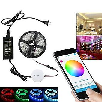 5M 60w smd5050 non-waterproof bluetooth app control rgb led strip light kit + 12v 5a power adapter christmas decorations clearance christmas lights