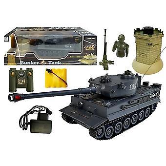 Rádiem řízený armádní tank - 26 cm - černý - s infračerveným bunkrem
