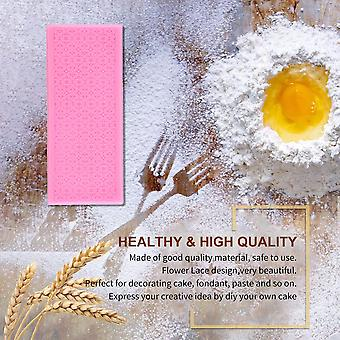 Pink Silicone Lace Fondant Embossed Mold Sugar Cake Decorating Mould Tool