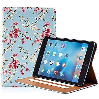 32e bloemdessin folium case voor Apple iPad Mini 4 - voorjaar blauw